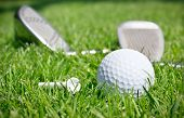 Golf clubs and ball in grass