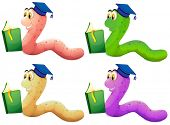 Illustration of the worms reading on a white background