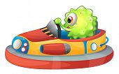 Illustration of a one-eyed monster riding a car on a white background