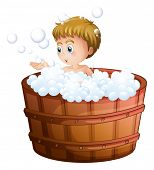 Illustration of a boy playing with the bubbles inside the big barrel on a white background
