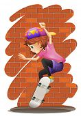 Illustration of an energetic little girl skateboarding on a white background