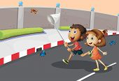 Illustration of the kids catching butterflies at the street