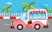 Illustration of a pink ice cream bus