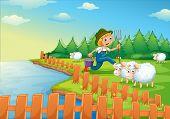 Illustration of a boy feeding the sheeps