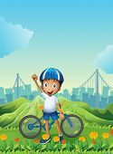 Illustration of a boy and his bike standing across the tall mountains