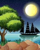 Illustration of a black ship at the sea under the bright moon