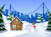 Illustration of a snowman near the bamboo house