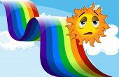 Illustration of a rainbow beside the sad sun