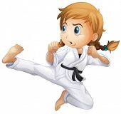 Illustration of a female doing karate on a white background