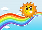 Illustration of a sky with a rainbow and an angry sun