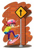 Illustration of a girl skateboarding near the signboard on a white background