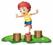 Illustration of a cute young boy playing above the stumps on a white background