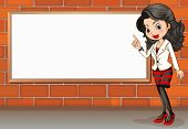 Illustration of a lady standing beside the empty signboard