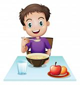 Illustration of a boy eating his breakfast at the table on a white background