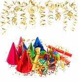 Colorful Garlands, Streamer, Party Hats And Confetti