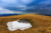 last snow on meadow in Carpathians at spring time