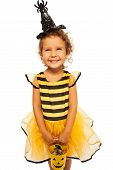 Little bee costume with candy Halloween bucket