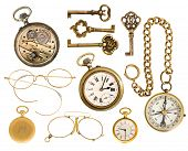 Golden Collectible Accessories. Antique Keys, Clock, Glasses, Compass