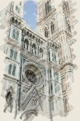 art watercolor background on paper texture with european antique town, Italy, Florence, Santa Maria