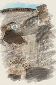 art watercolor background on paper texture with european antique town, Italy, Rome. Detail of Panthe