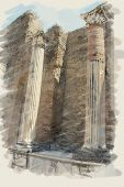 art watercolor background on paper texture with european antique town, Pompeii. Ruins of columns wit