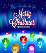 Christmas vector illustration - map pointers with flat icons  and long shadows