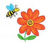 Flying Bee with flower, isolated on white, vector illustration
