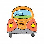beetle car, hand-drawn vector illustration on white background