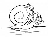 Cartoon Snail with a steering wheel, slow driver, vector illustration