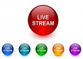 live stream internet icons colorful set