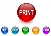 print internet icons colorful set