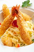 Japanese Cuisine - Fried Shrimps with Vegetables