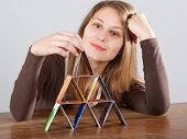 Woman With Credit Card Pyramid