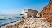 Image Of A Bunker On A Beach At Black Sea, Romania From World War Ii