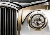Shiny Antique Limousine Closeup Of The Front