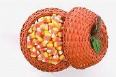 Candy Corn In Pumpkin Basket