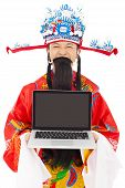 God Of Wealth Holding A Laptop  Over White Background