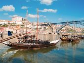 traditional port wine boats, Porto,  Portugal