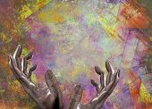 Human hands frame soft geometric abstract
