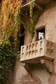stock photo of juliet  - Famous balcony on the house in Verona claiming to be Juliet - JPG