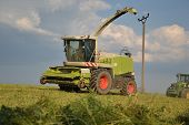 Combine harvester mows the field