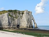 View Of Cliff With Arch On Beach Of etretat