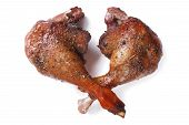 Two Fried Duck Legs Isolated On White Close Up Horizontal