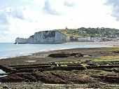 etretat Village And Cliff On English Channel Beach