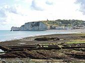etretat Village And Cliff On English Channel Beach