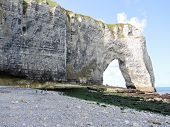 Cliff With Arch On Pebble Beach Of etretat