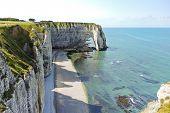 Shore Of English Channel Beach In etretat