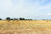 image of haystack  - panorama with haystack rolls on harvested field in Normandy France - JPG