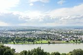 pic of moselle  - waterfront of Koblenz town at the confluence of Moselle and Rhine rivers Germany - JPG