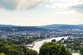 View Of Deutsches Eck In Koblenz Town, Germany